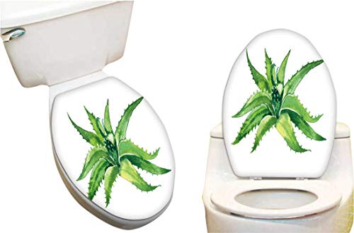 (Toilet Toilet Lid Decal Sticker Aloe Vera Toilet Seat Lid Cover Decals Stickers8 x11)