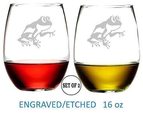 Frog Stemless Wine Glasses Etched Engraved Perfect Handmade Gifts for Everyone Set of 2 ()