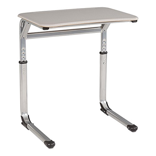 Learniture Rectangle Cantilever Desk with Curved Edge, Gray, LNT-INM1034ACGS-SO (Pack of 2) - Cantilever Leg Desk