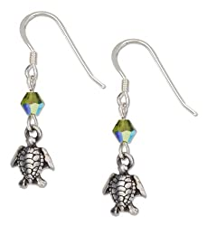 Swimming Turtle Earrings with Green Swarovski Crystals