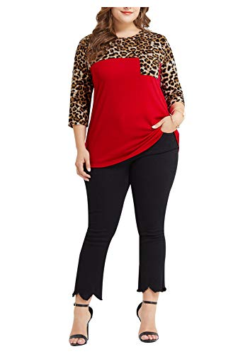 Women Plus Size Casual Leopard Print Shirt Tops Loose 3/4 Sleeve Blouse Red 2XL