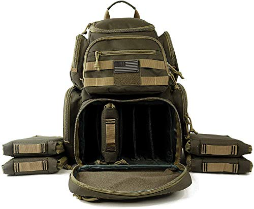 NiceAndGreat Tactical Range Backpack Military Gear Carries 5 Handguns Multi-Functional