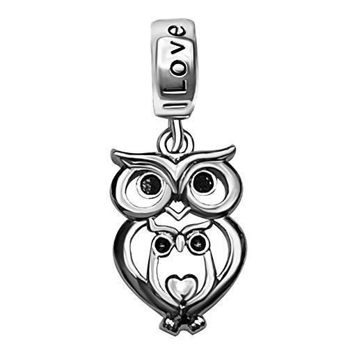 JMQJewelry Heart Owl Mom Love Girl Baby Charms Beads for Bracelets Mom Wife Sister (Baby Owl Jewelry)