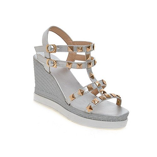 AllhqFashion Women's PU Solid Metal Open Toe High-Heels Sandals With Metal Silver