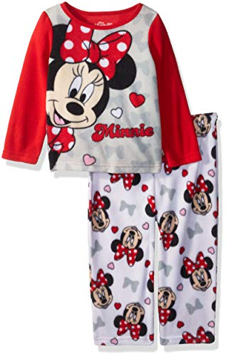 Disney Girls' Toddler Minnie Mouse 2-Piece Pajama Set, Traditional red, 3T
