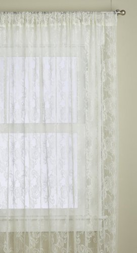 Lorraine Home Fashions Monaco Super Wide Tailored Window Panel , 120 by 84-Inch, Antique Ivory, Set of (French Lace Curtains)