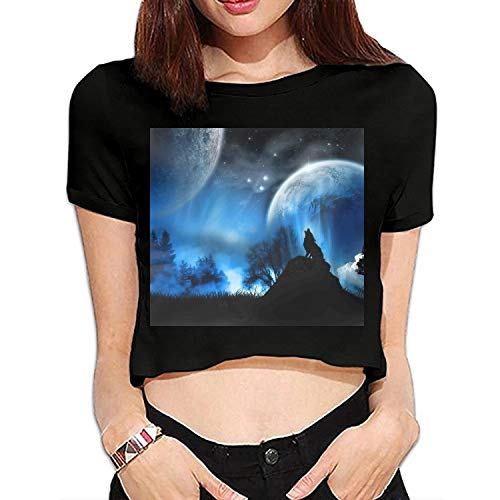 Women's Summer Short Sleeve Wolf Animals Fantasy Art Artwork Night Moon Casual Tee T-Shirt