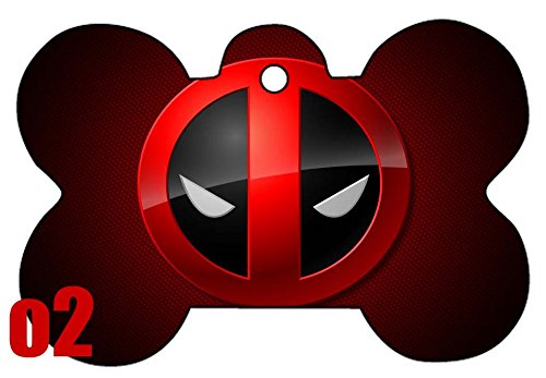 Deadpool Comic Bang Art Logo Dog Pet Cat ID Tag Bone Shape Image PhotoPersonalized with Key Ring (Badge)]()