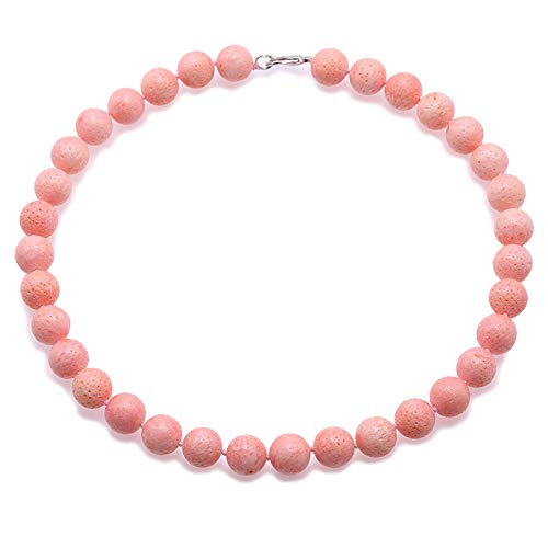 (JYX Coral Jewelry for Women 14mm Pink Round Coral Beads Single Strand Gemstone Necklace For Women 18