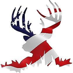 """Deer American Flag Hunting Color Decal 6"""""""