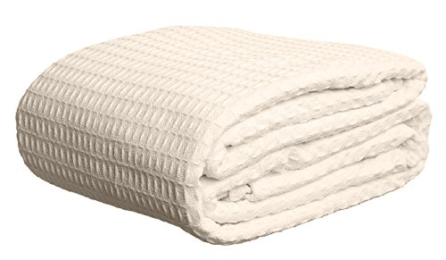 Deluxe 100% Soft Cotton Thermal Waffle Weave Blanket - FULL Size - CREAM