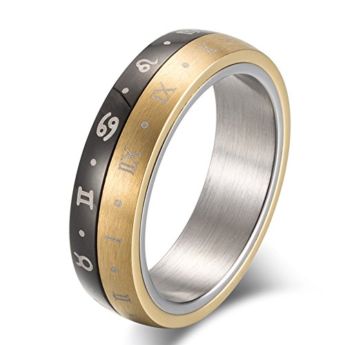 JAJAFOOK Gold Silver Black Spinning Stainless Steel Roman Numerals Mens Zodiac Ring,helps with ()
