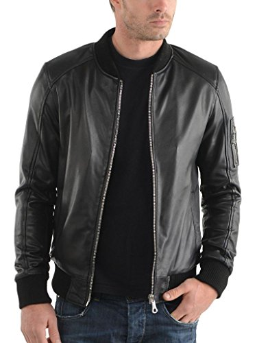 Leather Market Men's 100% Lambskin Leather Bomber Biker Jacket outfit Medium Black