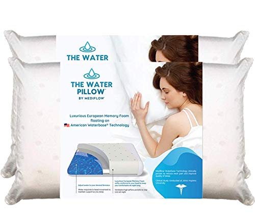 Mediflow Water Pillow Memory Foam re-Invented with Waterbase Technology - Clinically Proven to Reduce Neck Pain & Improve Sleep Quality. (Twin Pack)