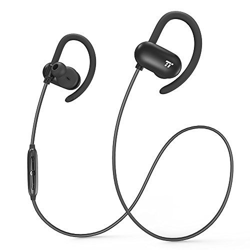 WireleTaoTroncis Bluetooth Headphones, Wireless Earphones for Running (12 Hour Music Playtimes, Soft Silicon Earhooks, Inner Nano-Coating Sweat-Proof) (Newblack)