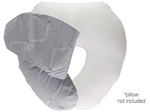 Bamboo Nursing Pillow Cover w/ Waterproof Layer | Antibacterial & Extra-Soft Slipcover for Baby Breastfeeding Cushions | Machine Washable Slip-On Protective Cover for Infant Support Pillows(LightGrey)