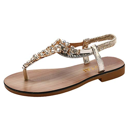 YuhooSUN Women's Elastic Strappy String Thong Ankle Strap Summer Gladiator Sandals,Platform Slingback Flat Bottom Shoes Gold