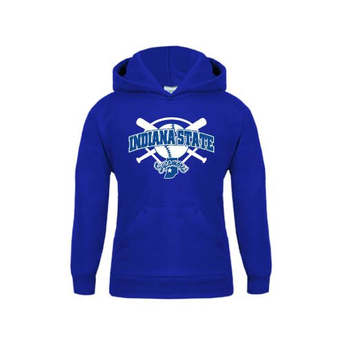 Indiana State Youth Royal Fleece Hoodie Bats and Plate Softball Design