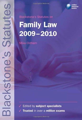 Blackstone's Statutes on Family Law 2009-2010 (Blackstone's Statute Book Series)