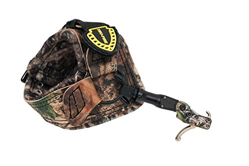 TruFire Hardcore Buckle Foldback, Max Adjustable Archery Compound Bow Release - Plush Camo Buckle Wrist Strap with Foldback Design
