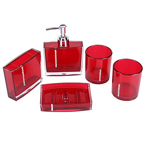 Yosoo 5 Pcs Bathroom Accessory Set Luxury Bath Vanity Set with Toothbrush Holder Containe Tumble Soap Dish Liquid Soap Lotion Pump Dispenser Red (Bathroom Red Vanity)