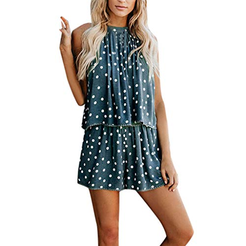 (Women's Sexy 2 Piece Outfits Sleeveless Halter Neck Strappy Scallop Trim Pleated Tops Tassel Edge Polka Dot Loose Shorts Summer Casual Suits)
