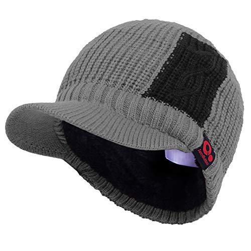 (Janey&Rubbins Sports Winter Two Tone Visor Beanie with Bill Knit Hat with Brim Fleece Lined Ski Cap (Grey))