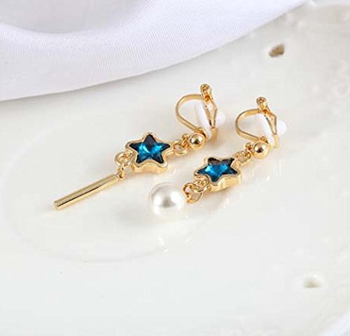 Clip on Earring Backs with Pads Dangle Star Simulated Pearl Crystal Women Girls Kids Jewelry Gift Box