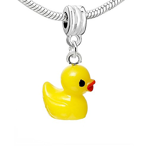(SEXY SPARKLES Resin Yellow Duck Dangle Charm Pendant for European Snake Chain Bracelets)