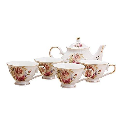 ufengke 9 Piece European Ceramic Tea Set, Bone China Tea Service Coffee Set With Metal Holder, For Wedding And Gift, Orange Flower Painting