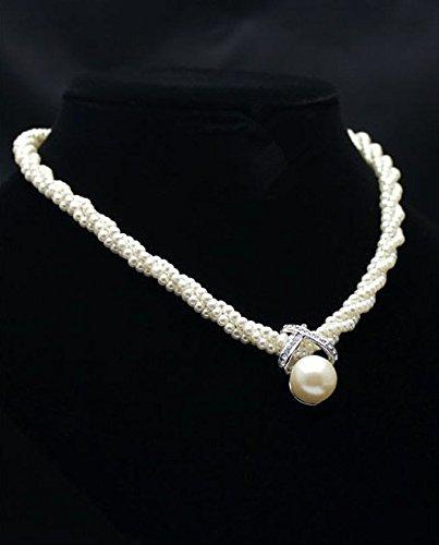 [Fashion Women's Chain Choker Chunky Pearl Statement Bib Pendant Necklace Jewelry nn] (1980s Costume Jewellery)