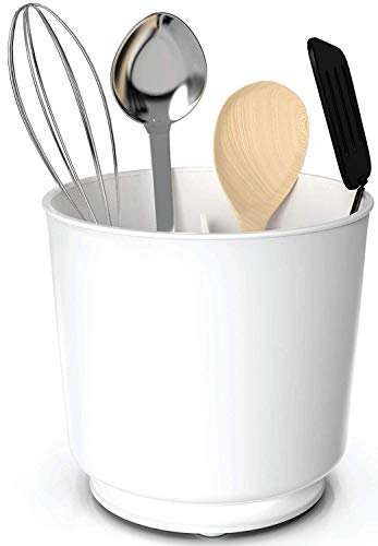 (Extra Large and Sturdy Rotating Utensil Holder Caddy with No-Tip Weighted Base, Removable Divider, And Gripped Insert | Rust Proof and Dishwasher Safe by Cooler Kitchen)