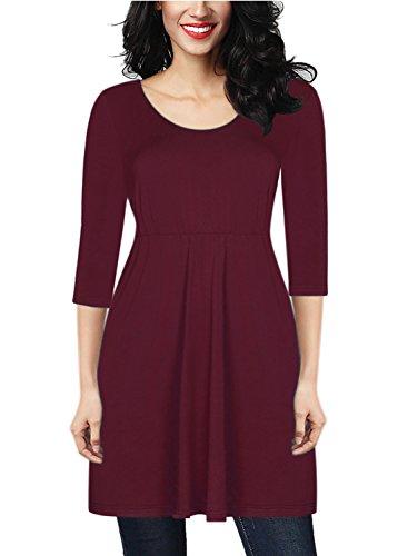 Destinas Women's 3/4 Sleeve Geometric Floral Print Tunic Blouse Tops Shirts (M, Burgundy)
