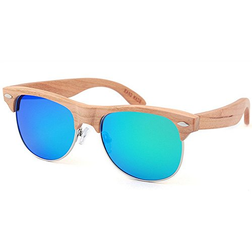 hecho de calidad UV de color protección montura de de gafas mano semi sol TAC alta madera a azul sol ligero lente Ultra de sin de sol Remache mujeres de polarizadas gafas conducción gafas las de mujer WgUgFaq