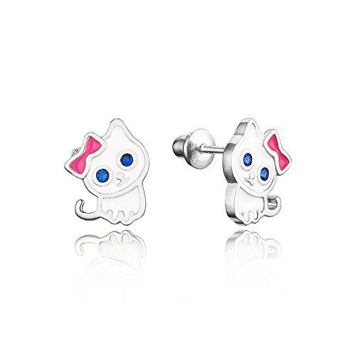 Enamel Cat Silver (925 Sterling Silver Rhodium Plated Enamel Cat Kitten Cubic Zirconia Screwback Baby Girls Earrings)