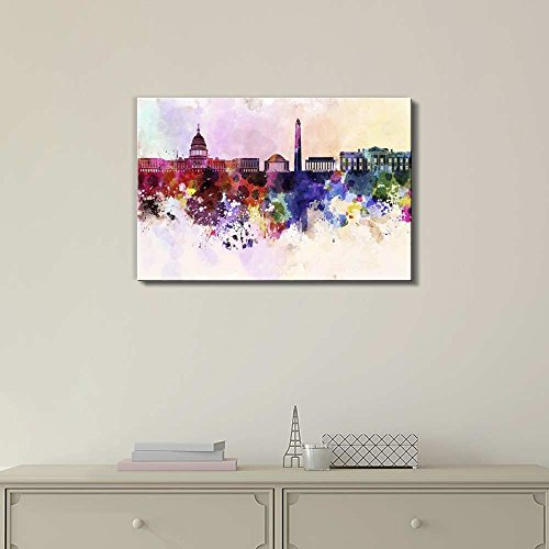 Washington Dc Skyline in Watercolor Background Wall Decor ation