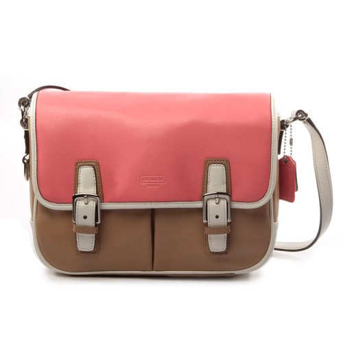 Coach Park Leather Flap Crossbody Bag Taupe Rose Multi - Coach Cheap Outlet