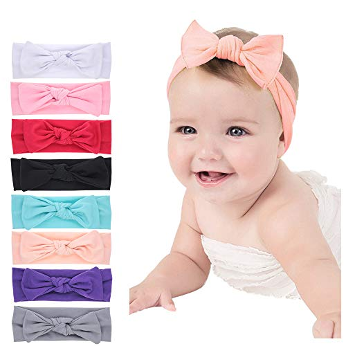 Baby Headbands Turban Knotted, Girl's Hairbands for Newborn,Toddler and Childrens (Black Headband Nylon)