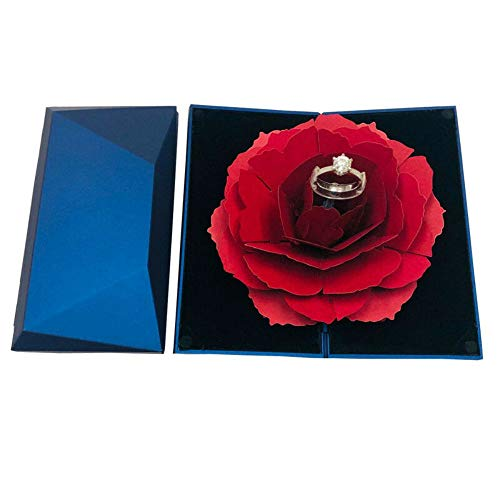 (Awesome Shopper Valentine's Day Folding Rotating Rose Ring Box Birthday Jewelry Display Boxes (Blue))