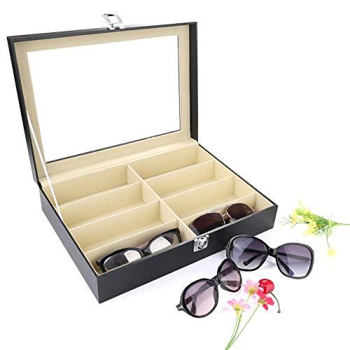 UYGHHK 8 Slot Sunglass Organizer Eyeglass Storage Box Sunglasses Holder PU Leather Glasses Organizer Sunglasses Organizer Box Multi Glasses Case - 8 Compartments from UYGHHK