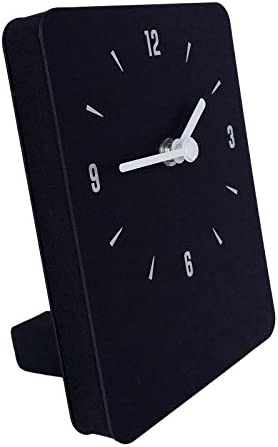 thehaki Multipurpose Table Wall Clock Non-Ticking Silent Quartz Movement Paper Desk Clock Black