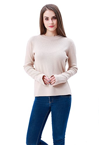 MEEFUR Women's Crew Neck Short Sweaters Ribbed Long Sleeve Pullover Winter Loose Fit Soft Stretchy Tops Knitwear ()