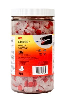 3M UR2-JAR500 Scotchlok IDC Butt Connector Jar, 500 Piece, Red (Ur2 Connector)
