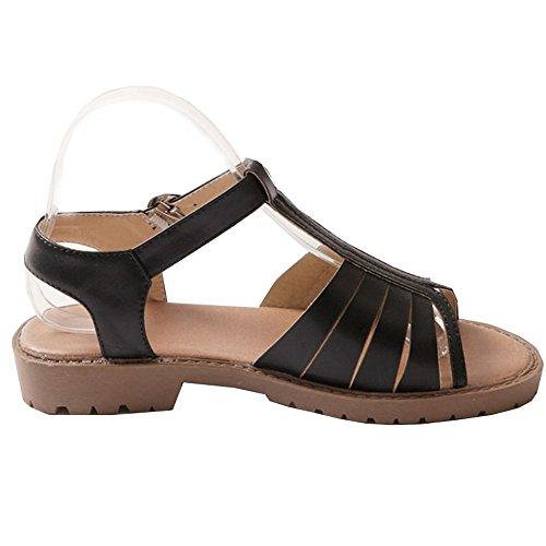 Open Toe Sandals Black Flats strap T Women's LongFengMa Classic Black pEwqqvT