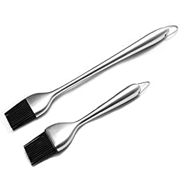 CH HAICHENG 2 PCS Basting Brush and Pastry Brush Set with Stainless Steel Handle, Silicone Brush Head Resistant, Dishwasher Safe, Food Grade, BPA Free 19 Safe and Durable: 100% FDA approved food safe silicone brush for safe cooking, The basting brush can withstand heat up to 446 ℉/ 230 °C , making them perfect for use in the kitchen or the grill. The bristles will not melt, break or shed into your food! High Quality Stainless Steel: Stainless steel handle,the handle is made from high-quality,extra thick stainless steel can use many years,also have a nice size stainless steel loop for convenient hanging. Length: Long brush 12 inch is long enough to keep you away from the heat, short brush 7 inch let you easy pastries, fully meet the cooking needs.