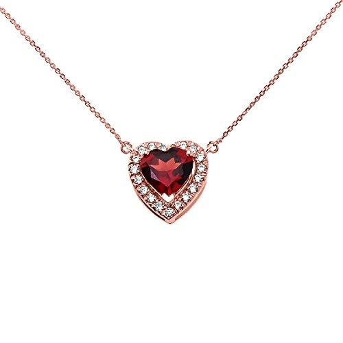 Collier Femme Pendentif Elegant 10 ct Or Rose Diamant et Janvier Pierre De Naissance Grenat Cœur Solitaire (Livré avec une 45cm Chaîne)