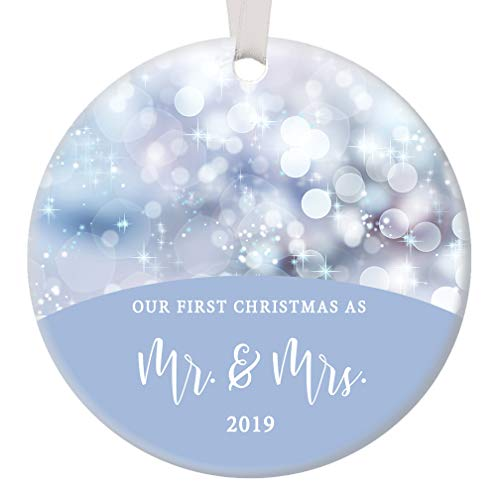 """Our First Christmas as Mr & Mrs Ornament 2019 Blue Twinkling Lights Bridal Shower Wedding Present Bride Groom Newlyweds Husband & Wife Ceramic 3"""" Flat Circle Ceramic with White Ribbon & Free Gift Box"""
