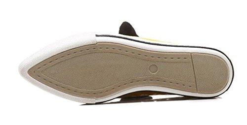 Chanclas de Oficina Charol carrera Mocasines mujer el Plataforma Sandalias MSFS pie y dedo Cordones Negro Cerrado del qOw1TIR5