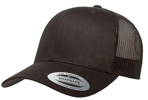 Retro Mesh Hat - Yupoong Retro Trucker Hat & 2-Tone Snapback - 6606, by Flexfit (One Size, Black FBA)