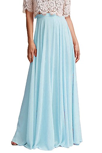 Omelas Women Long Floor Length Chiffon High Waist Skirt Maxi Bridesmaid Party Dress (Sky Blue, Custom Made)